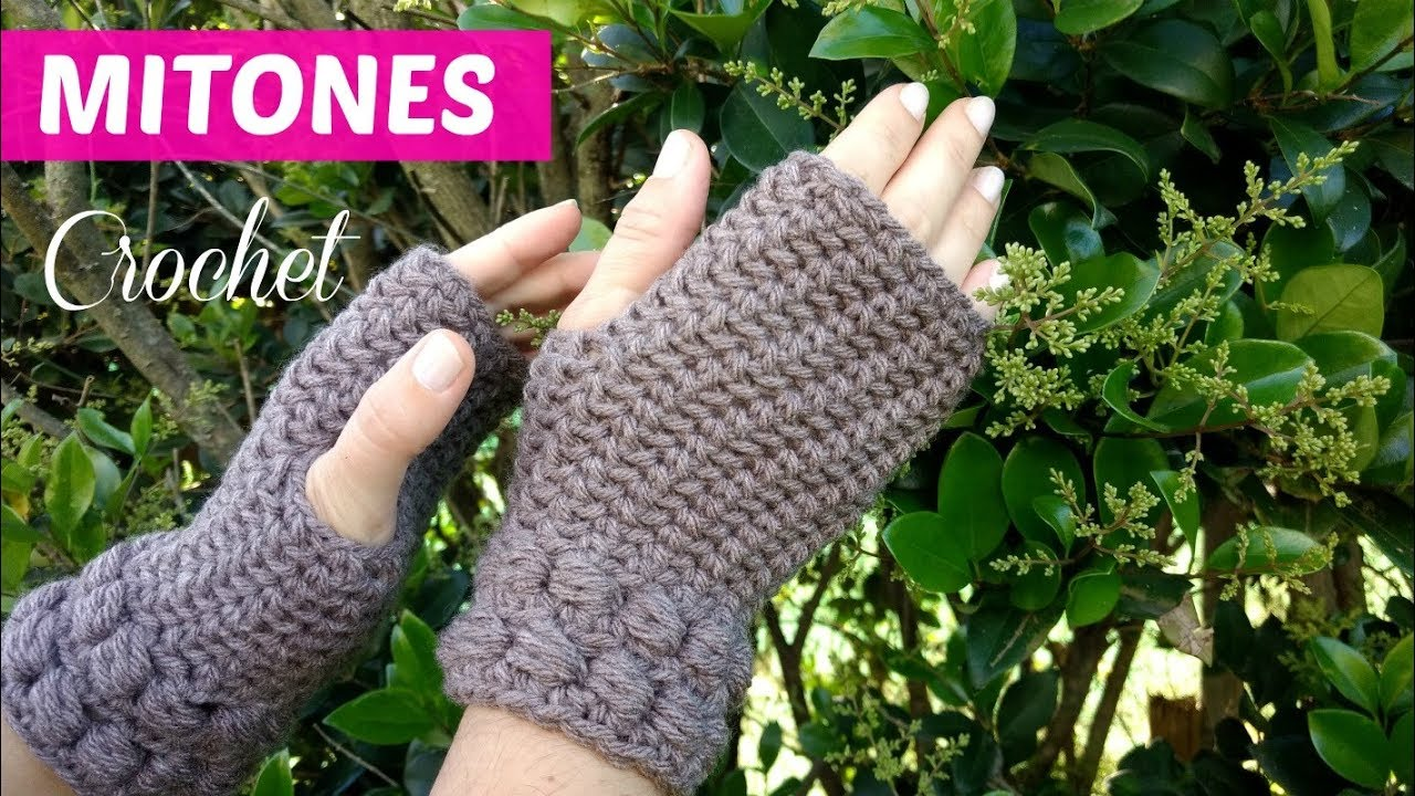Guantes sin dedos tejidos a crochet tutorial - YouTube