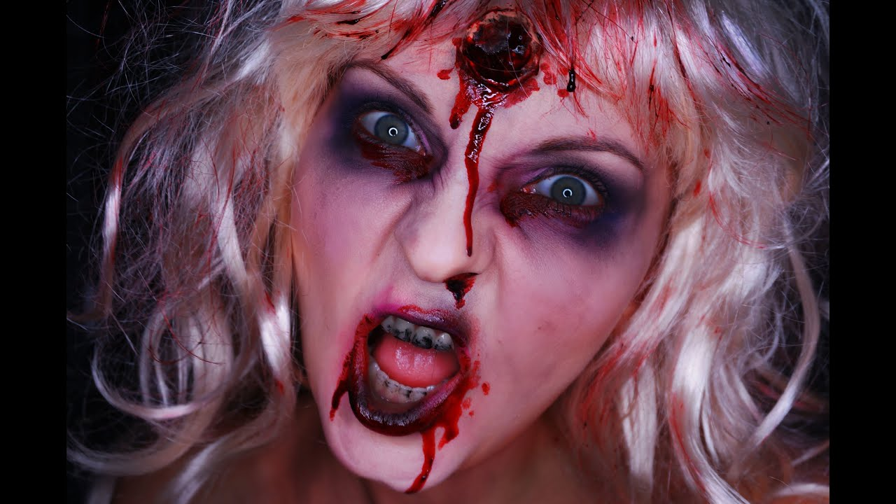 Zombie Barbie- Halloween Make Up - YouTube