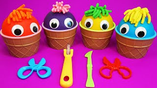 4 Colors Play-Doh Ice Cream Cups Surprise Toys - Doll Cake Dog   ColorBug Playtime