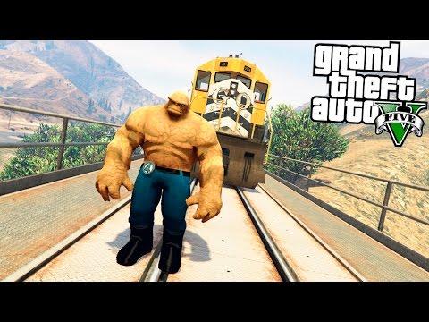 GTA 5 Моды: Существо из Фантастической Четверки - Существо против Поезда!