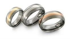 Domed Titanium Rings with Gold and Platinum Inlays