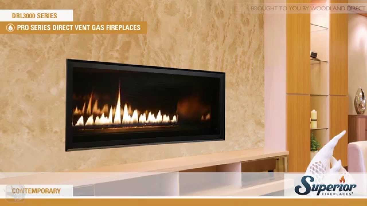 superior drl3000 direct vent linear gas fireplace youtube