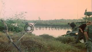 A Patrol Boat River heads out for a patrol during Operation Giant Sling Shot in V...HD Stock Footage