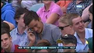 Cricket Spectator Takes A Classic One Handed Catch In The Crowd