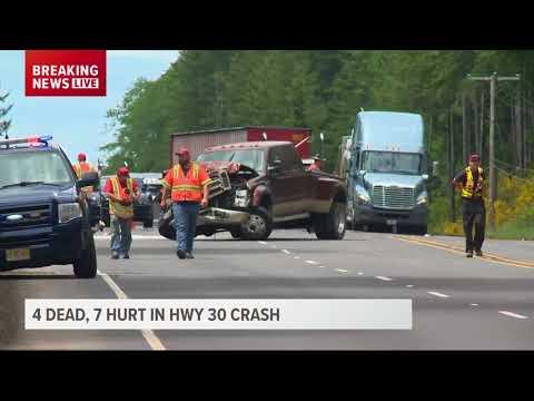 Four killed, 7 injured in Highway 30 crash west of Clatskanie - YouTube