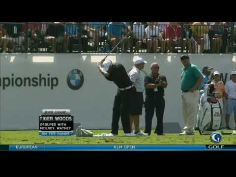Golf Swings: Tiger Woods and Louis Oosthuizen On The Range: 09/05/12