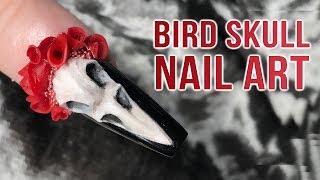 3D Bird Skull & Acrylic Rose Nail Art - Pagan Bridal Design