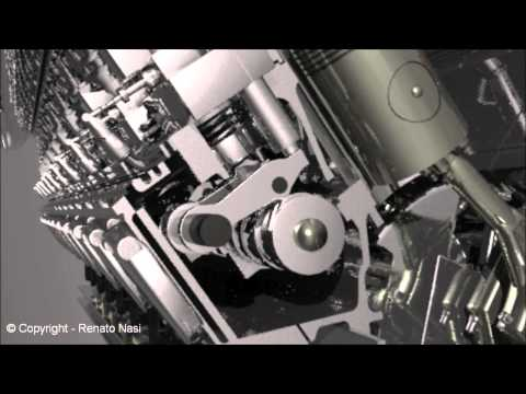 3D Animation - 18 cylinders diesel engine, Power Plant  -  Autocad 2013 / 3ds MAX 2012