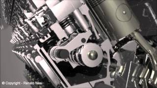 3d animation 18 cylinders diesel engine power plant autocad 2013 3ds max 2012