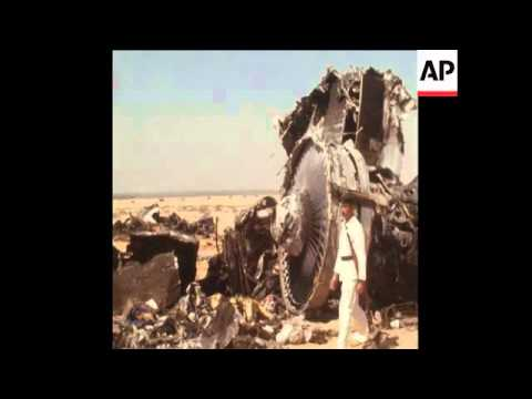 SYND 08/09/1970 WRECK OF HIJACKED JUMBO JET