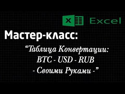 Мастер-класс: Excel. Конвертация валюты. BTC - USD - RUB. Таблица Excel. Своими руками.