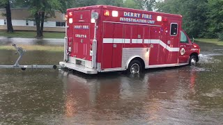 Raw video: Floodwaters build in Derry; buildings evacuated