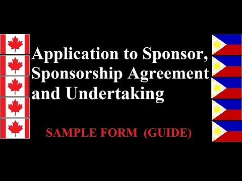 Application to Sponsor, Sponsorship Agreement and Undertaking