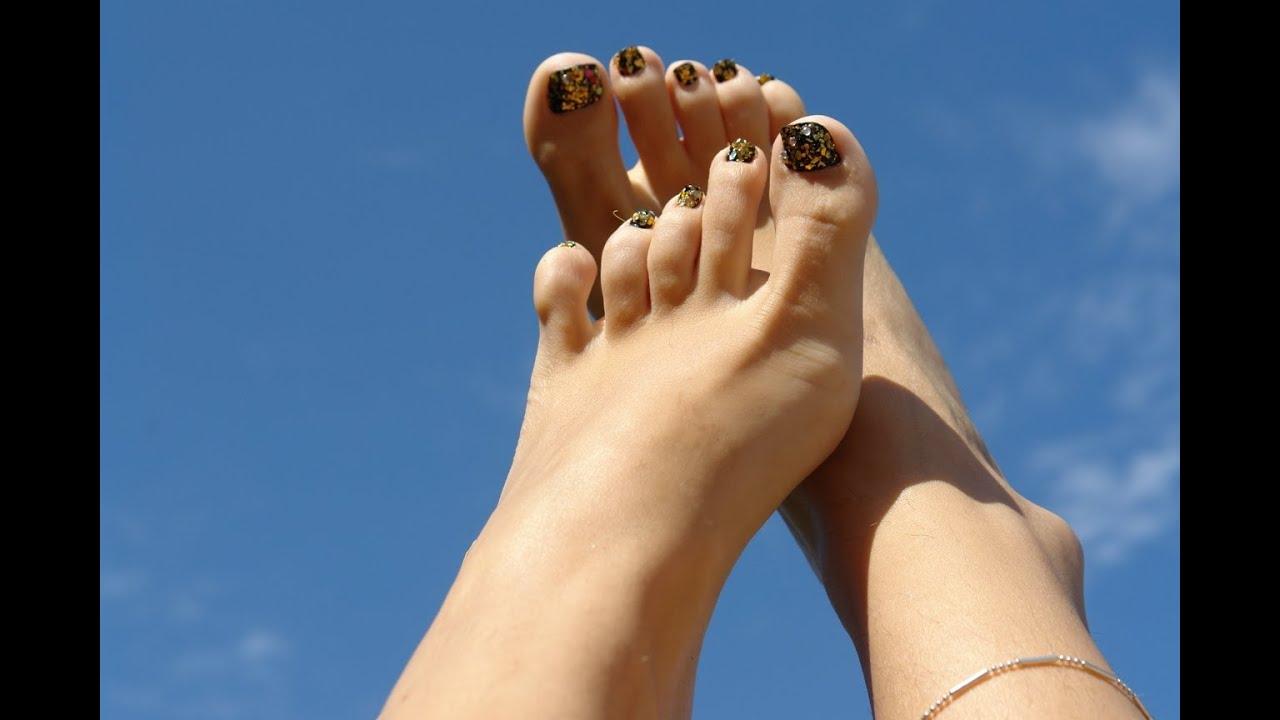 Black And Gold Mylar Toe Nail Art Design Youtube