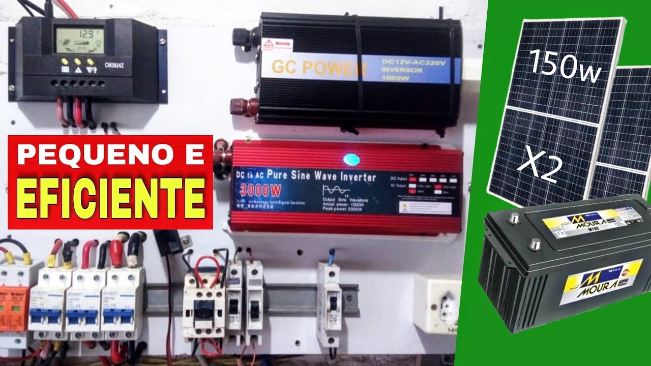 Energia solar com 2 placas de 150w 2 inversores e uma bateria de 150ah | José Severino