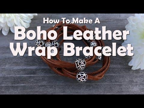 Boho Leather Wrap Bracelet Easy Jewelry Tutorial Youtube