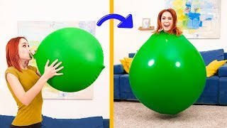 15 Awesome Balloon Tricks and Games / Inside Giant Balloon!