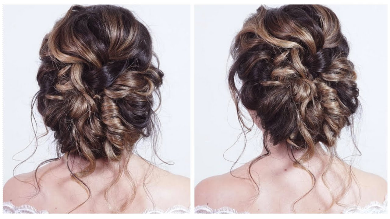 Soft Relaxed Bridal Wedding Party Updo Great For Curly Hair A Quick Hairstyle For Long Medium Hair Youtube