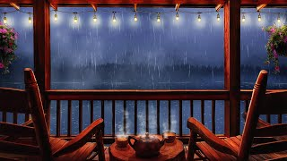 Cozy Cabin Porch Ambience - Rain & Thunderstorm Sounds 8 hours on Balcony for Sleep, Study, Relax