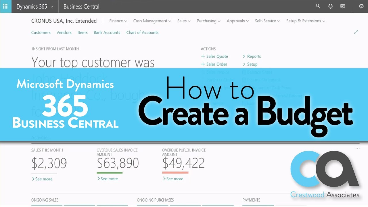 Create a New Budget in Dynamics 365 Business Central