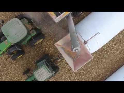 Loftness XLB 10 Grain Bagger at Jon Nelson's Farm Lake Preston, SD (raw drone footage) 11.02.16.2