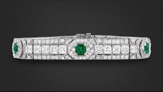 Untreated Colombian Emerald & Diamond Bracelet from M.S. Rau Antiques