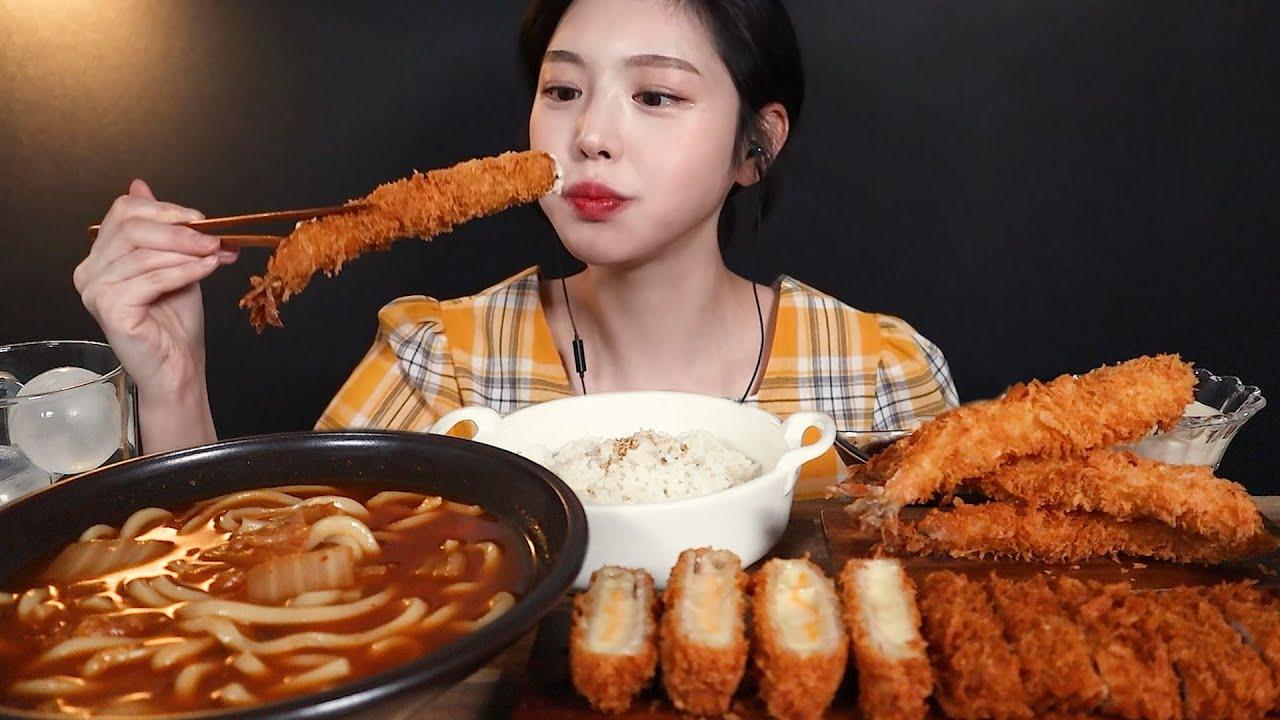 SUB)바삭끝판왕 돈까스 먹방! 치즈돈까스 왕새우튀김에 김치우동 카레까지 리얼사운드 Cheesy Pork Cutlet, Kimchi Udon Mukbang Asmr