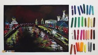 """Курс рисования """"Сухая пастель"""" Начинающие. Урок 6-1. Ночная Москва."""
