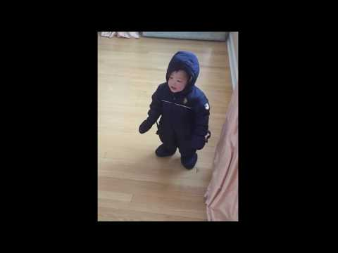 2016.01.23 James walking in his snowsuit