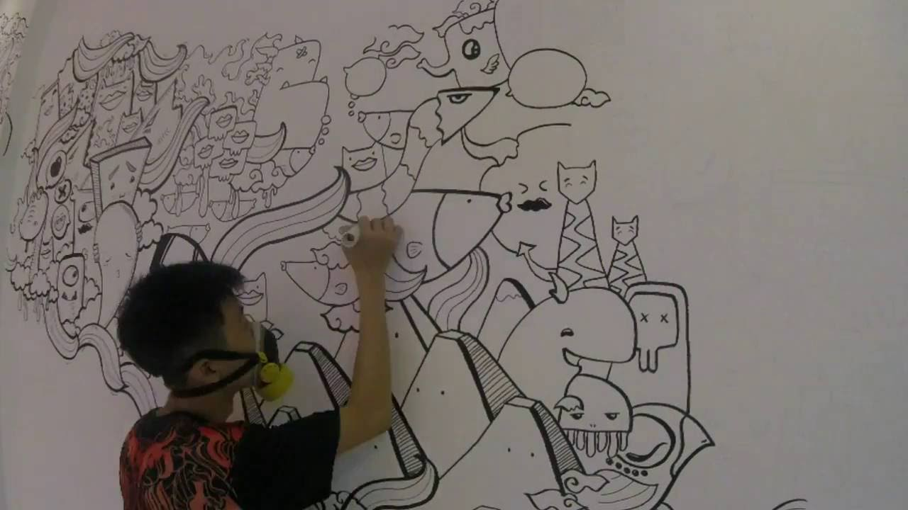 Doodle Art Wall at PIK Jakarta | DWSkellington - YouTube