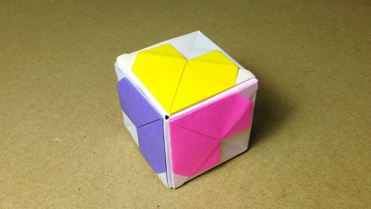 すべての折り紙 折り紙 ハート 折り方 : み)】 ハートキューブの折り ...