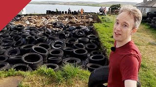 I helped cover a 5,000-year-old monument with worn-out tires