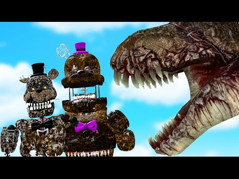 IGNITED NIGHTMARE ANIMATRONICS vs SCAR FACE MAMA T-REX ARMY! (Gmod FNAF Sandbox Funny Moments)