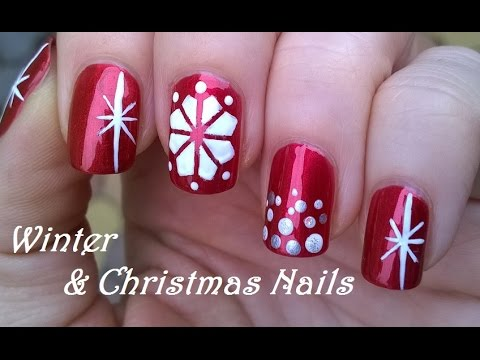 CHRISTMAS Nail Art / WINTER Design In Red & White - DIY ...