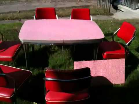 Vintage Retro 1950's Formica Kitchen Table 6 Chairs.