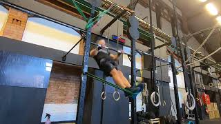 Straight arm bar muscle-up band assisted