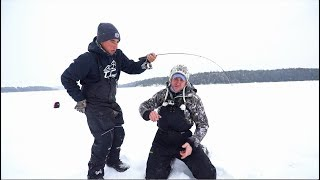 Lake Trout Ice Fishing in a SNOW STORM!?!?!