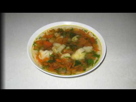 Рецепт: Вегетарианский постный овощной супчик с цветной