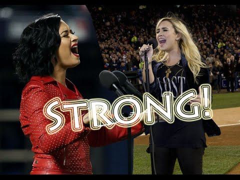 Comparing the voice of Demi Lovato singing the National Anthem 20122015