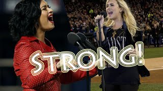 Comparing the voice of Demi Lovato singing the National Anthem 2012/2015