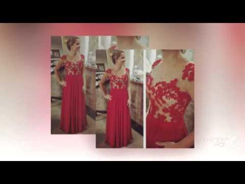 Красный кружева аппликация line вечера вечерние платья шифон плиссированные этаж Vestidos
