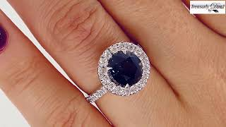 AGL 3.82ct Natural UNHEATED Rich Blue Round SAPPHIRE Diamond Halo Engagement Ring