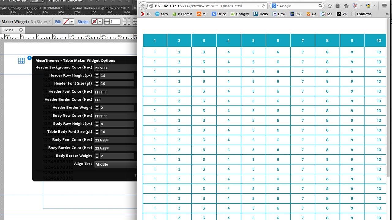 MuseThemes.com - Table Maker Widget | Adobe Muse Tutorial - YouTube