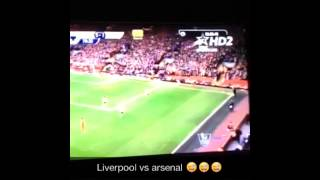 Liverpool vs Arsenal player falls into stands