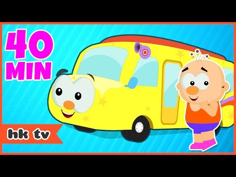 Wheels On The Bus Go Round And Round | Nursery Rhymes | Kids Songs | HooplaKidz TV