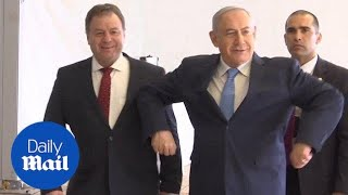 Benjamin Netanyahu mimics Eurovision winner's chicken dance - Daily Mail