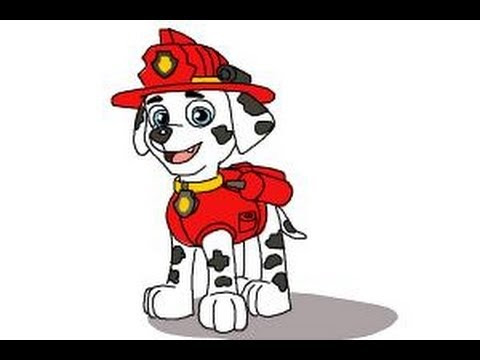 How To Draw Marshall From Paw Patrol Youtube