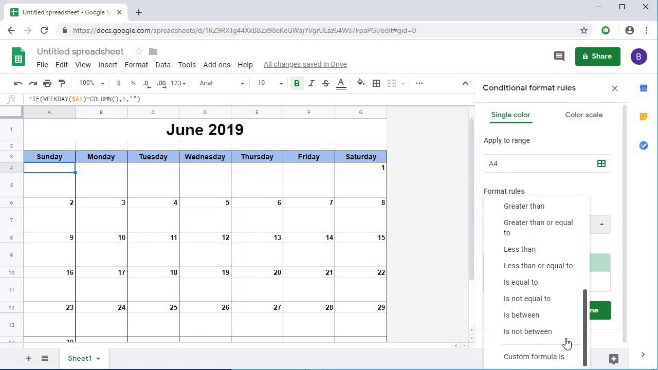 Monthly Calendar In Google Sheets