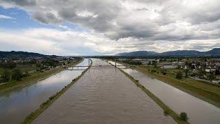 Luftaufnahme Hochwasser Rhein Widnau/Diepoldsau SG, Schweiz