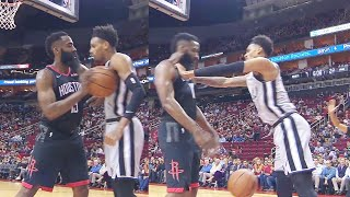 James Harden Shoves Dejounte Murray Who Doesn't Back Down! Rockets vs Spurs 2019 NBA Season